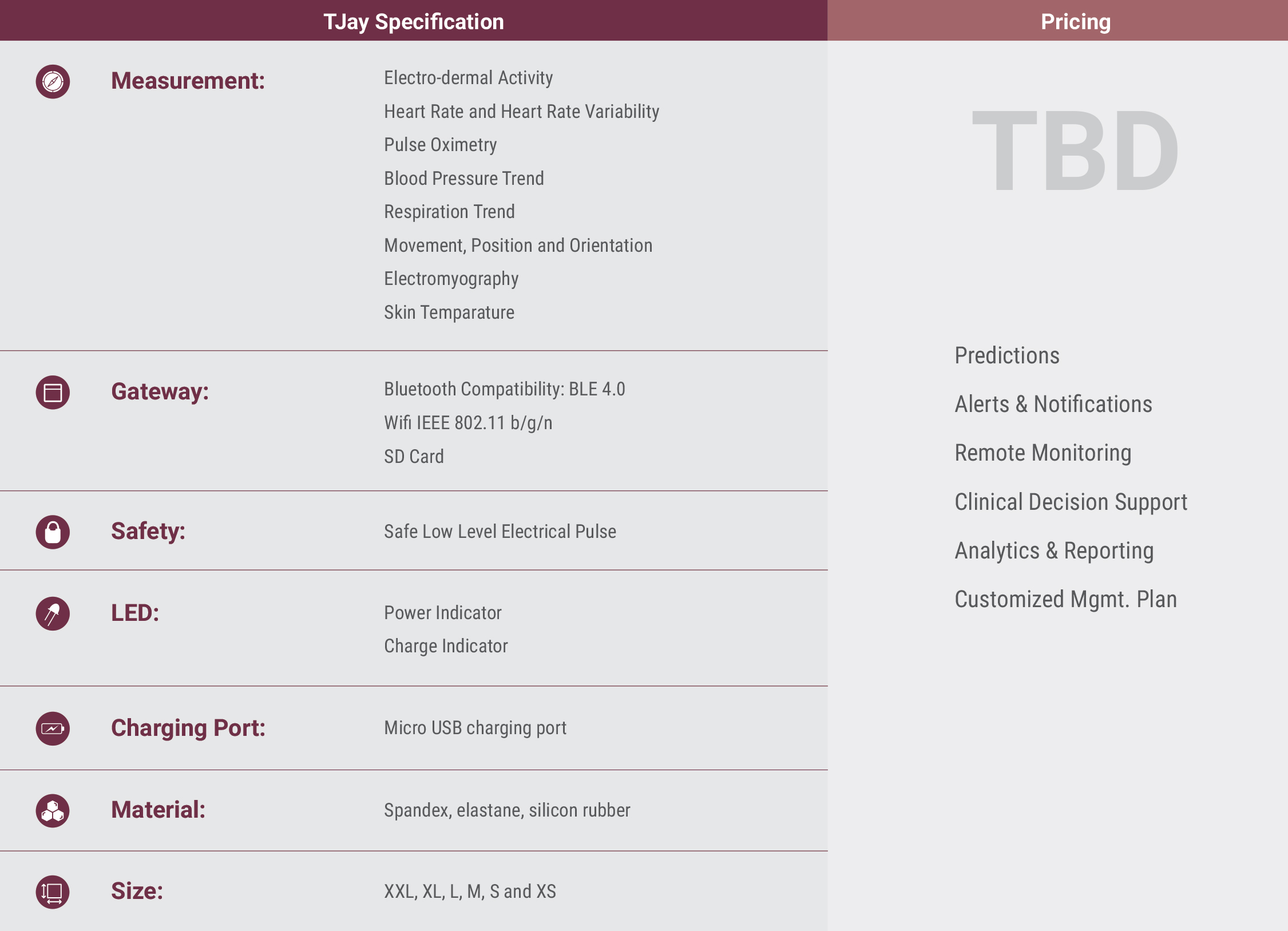 TJay Specifications